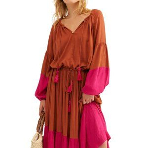 Free People Never Forget Drawstring Blocked Dress